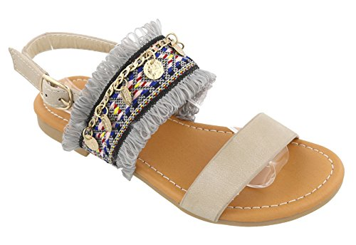 Best Top Beige Gladiator Soft Faux Leather Gold Coin Embellished With Buckle Slip On Open Toe Flat Heel Big Girl Prime Fun colorful Shoe Sandale Sandal Easter Gift For Sale - Top Kids Flat