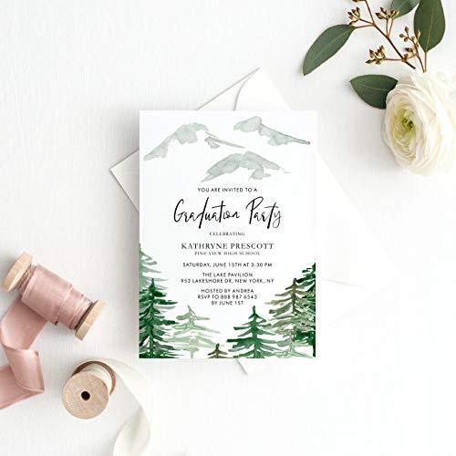 Dozili Graduation Invitation Watercolor Woodland Graduation Party Invitation Enchanted Forest Invitation Customizable to Any Event -