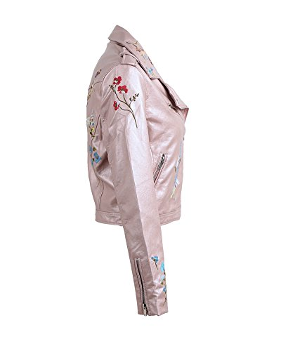 Outerwear Embroidery Jacket Coat Jacket Leather Light Pink Moto Romacci Zipper PU Basic Flower Women 1qxqS4P
