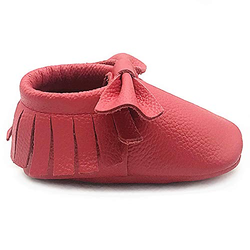 Owlowla Baby Moccasins Leather Soft Sole Newborn Crib Shoes for Boys and Girls(Ruby Red Bow,US6.5)