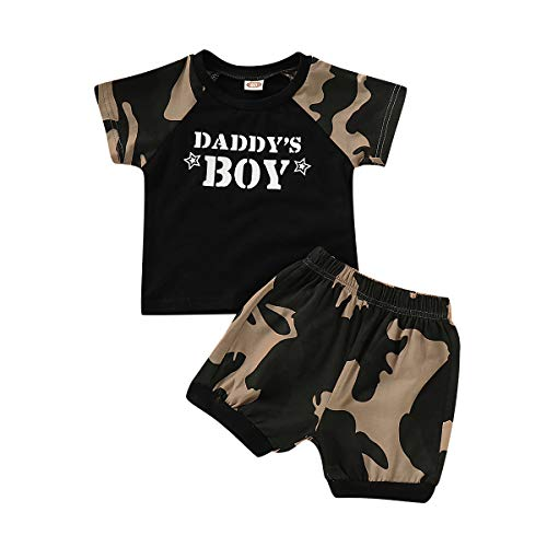 Baby Boy Clothes Short Sleeve Black T-Shirt + Camo Pants Toddler Outfits Set Black 1-Daddy's boy (18-24 Months)