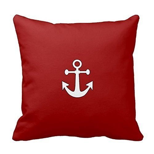 Red Navy Reversible Anchor Nautical Pillow Cases 18x18 Inche