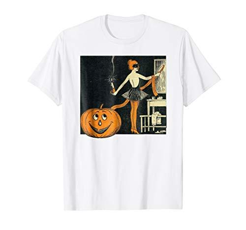 (Vintage Jack O Lantern Shirt- Halloween Pinup Girl)