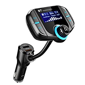 Criacr Bluetooth FM Transmitter, Wireless Car Bluetooth Adapter Kit , 1.5inch LCD Screen, USB Car Charger with Quick Charging 3.0 + 5V/2.4A Dual USB Ports, AUX radio transmitter for iPhone, Samsung