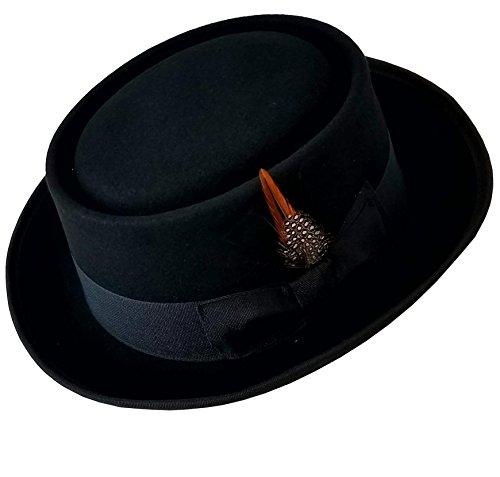 SHAHIN Men's Flat Top 100% Wool Felt Porkpie Pork Pie Hats W/Feather (M, (Wool Felt Pork Pie Hat)