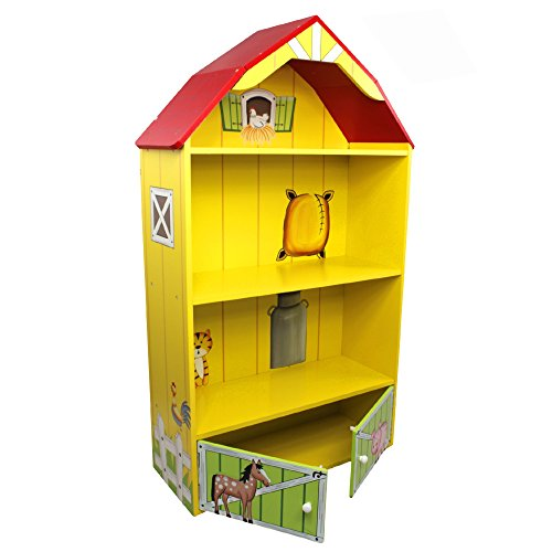 Fantasy Fields Happy Farm Animals Thematic Kids Wooden Barn Bookcase with Storage | Imagination Inspiring Hand Crafted & Hand Painted Details | Non-Toxic, Lead Free Water-based Paint Barn Farm