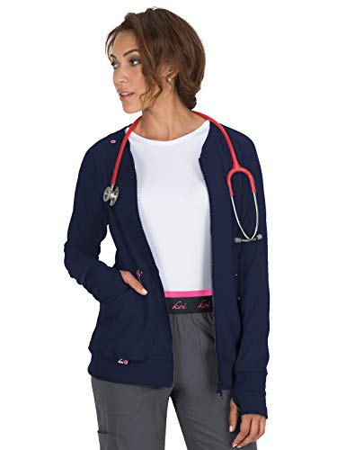 (KOI Lite Women's Clarity Zip Front Solid Scrub Jacket (Navy, X-Large))