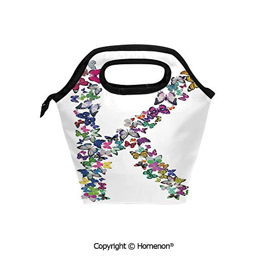 Insulated Neoprene Soft Lunch Bag Tote Handbag lunchbox,3d prited with Nature Inspired Typography Letters with Flying Monarch Butterflies Insects Wings,For School work Office Kids Lunch Box & Food Co -