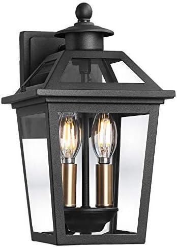 Beionxii Outdoor Wall Lantern Exterior Porch Light Fixtures Outside Garage Lights, Sand Textured Black with Clear Glass – A329W-1PK