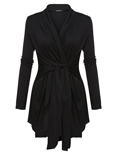 BEYOVE Womens Basic Open Front Knit Cardigan Sweater Top With Belt Black XXXL (Knit Cardigan Sweater Top)