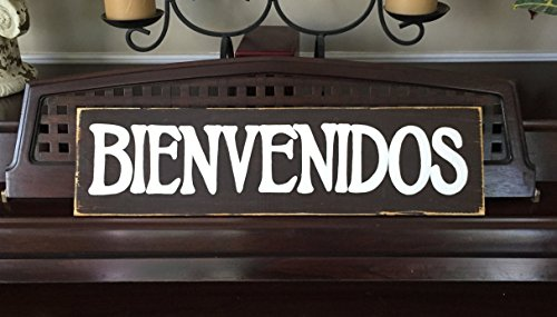 Ruskin352 BIENVENIDOS Welcome Sign Plaque Spanish Southwest Decor Style Wooden Sign Hand Painted by Ruskin352