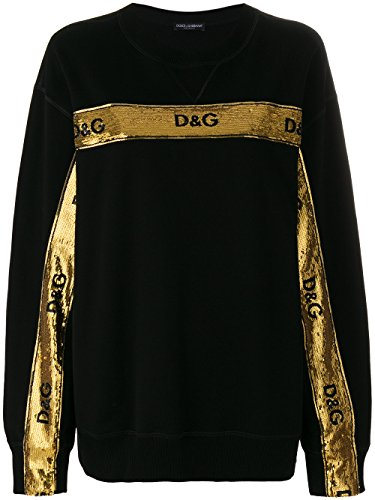 Dolce e Gabbana Women's F9b26zfu7dun0000 Black/Gold Cotton Sweatshirt (Gabbana Dolce Women & Sweaters)