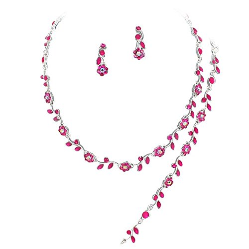Affordable Fuchsia Pink Crystal Rhinestone Bridesmaid 3 Bridal Necklace, Earring, Bracelet Set H4 - Jewelry Pink Rhinestone