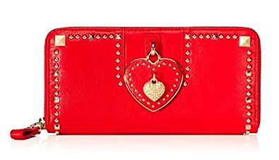 Juicy Couture Leather Heart Zip Wallet Bright RED