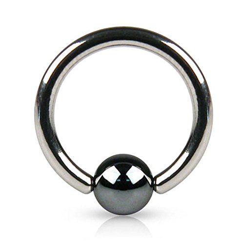 14G Captive Bead Ring with Hematite Plated Bead - Sold Individually (Length: 1