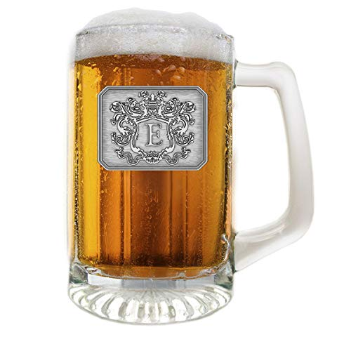 (Fine Occasion Glass Beer Pub Mug Monogram Initial Pewter Engraved Crest with Letter E, 25 oz )