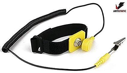 giallo Imbaprice antistatico regolabile a terra cinturino da polso componenti nero