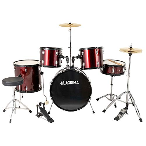 LAGRIMA Full Size Complete Adult 5 Piece Drum Set with Adjustable Throne, Stainless Steel Cymbals, Pedal & 2 Drumsticks, Double Layer Oil Skins & Double Braced Hardware, Wine Red, 22 inch