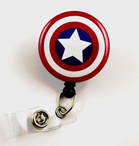 Superhero Captain America Mylar - Nurse Badge Reel - Retractable ID Badge Holder - Nurse Badge - Badge Clip - Badge Reels - Pediatric - RN - Name Badge Holder (Super Hero Id Badge Holder)