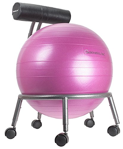 Isokinetics Inc. Brand Adjustable Fitness Ball Chair - Silver Flake on Black Metal Frame Finish - Exclusive: 60mm (2.5'') Wheels - Adjustable Base and Back Height - with Pink 55cm Ball and a Pump by Isokinetics