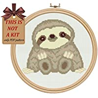 Cross stitch patterns pdf, cute sloth cross stitch pattern design for beginners, easy modern counted simple cross stitch chart, MATERIALS ARE NOT INCLUDED!