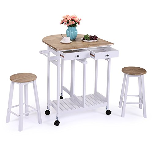 JAXPETY Rolling Kitchen Trolley Cart Island Drop Leaf Table Wood Beachwood Breakfast Bar with 2 Stools and 2 Drawers