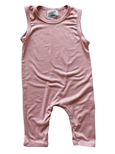 12 Pastel Roses (Rocket Bug Sleeveless Baby Romper For Boys and Girls (12-18 Months (Large), Dusty Rose))