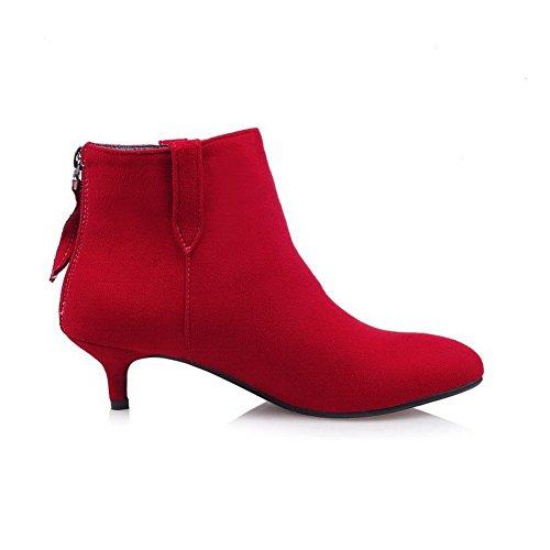 AgooLar Damen Hoher Absatz Rein Rund Zehe Elastic Band Stiefel, Rot, 36