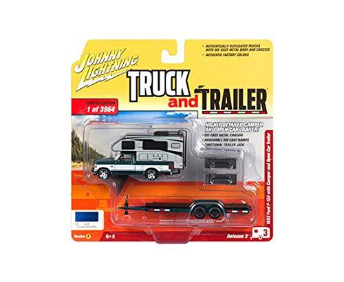 - 1993 Ford F-150 Metallic Green w/Silver Camper and Chrome Open Car Trailer Limited Edition to 3,964 Pieces Worldwide Truck & Trailer Series 3 1/64 Diecast Car by Johnny Lightning JLBT008/ JLSP036 B