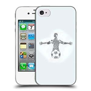 Super Galaxy Coque de Protection TPU Silicone Case pour // V00000608 Jugador de fútbol Diseño de Grunge // Apple iPhone 4 4S 4G