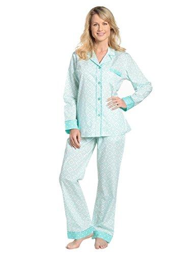 Noble Mount Womens Premium 100% Cotton Poplin Pajama Set with Contrast Cuffs
