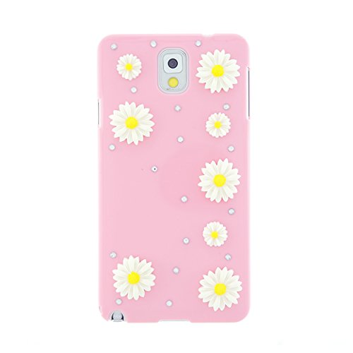 CaseBee® Flower Series - Simple & Pretty 3D Daisies Flower Samsung Galaxy Note 3 Note III N9000 N9005 Case - Handmade Bling Bling Rhinestones - Perfect Gift (Package includes Extra Crystals & Screen Protector) (Light Pink)