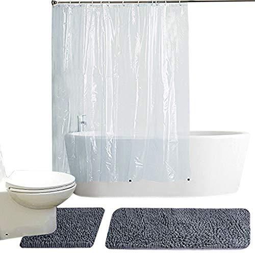 Set Chenille Curtain (Fashion Dream 2 Piece Bath Rug Set Shower Curtain Liner Mildew Resistant Chenille Bathroom Rug Shag Toilet Rug U Shaped Floor Mat Grey)