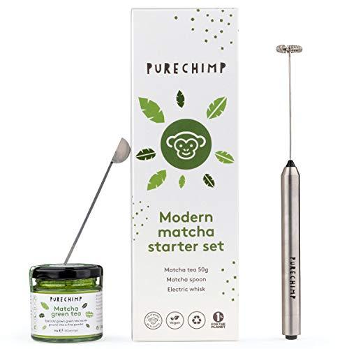 PureChimp - Juego de te matcha (50 g, batidor electrico y cuchara matcha)