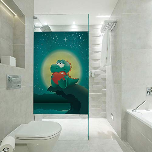 Shower Room Window Film Glass Stickers,Valentine Night Scenery with Cute Baby Dinosaur in Love Full Moon,Customizable Size,Suitable for Bathroom,Door,Glass etc,Jade Green Petrol Blue Red