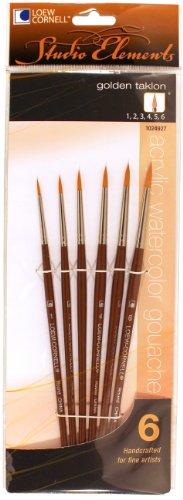 - Loew-Cornell 1024927 Studio Elements Golden Taklon Short Handle Round Small Brush Set