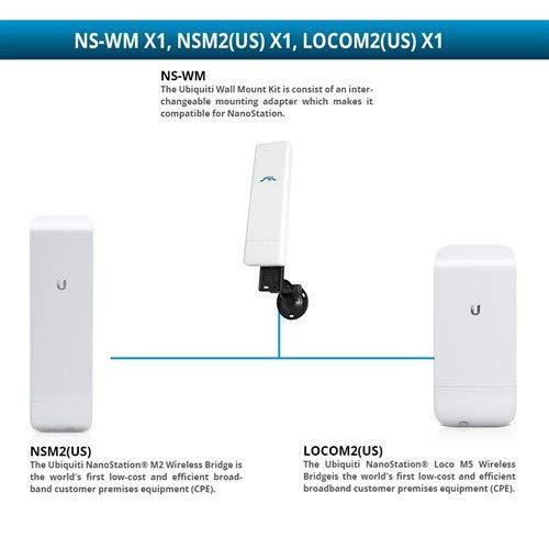 Ubiquiti NSM2(US) NanoStation M2 Wireless Bridge with LOCOM2 NanoStation Loco M2 Wireless Bridge and NS-WM Wall Mount ()