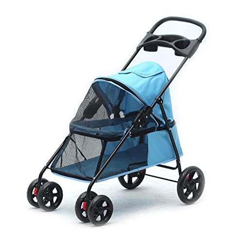 bluee Pet Stroller for Cats Dogs, Easy Fold with Removable Liner, Storage Basket + Cup Holder,bluee