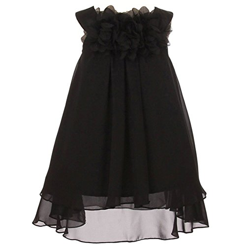 Beautiful Mesh Flower Chiffon A-Line Dress - Big Girls Black - Size 12 (Black Chiffon A-line)