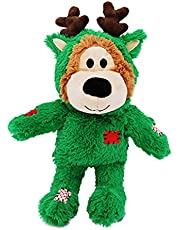 KONG - Christmas Wild Knots Bear - Internal Knotted Ropes and Minimal Stuffing for Less Mess (Assorted Colours)