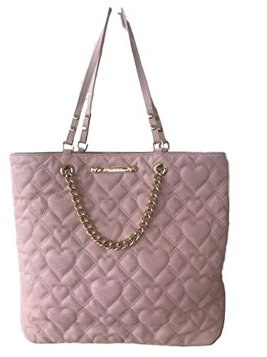 Betsey Johnson Diamond Heart Quilted Faux Leather Bag in a Bag Blush Swag Chain Tote Shoulder -