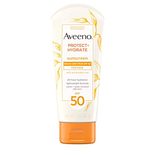 (Aveeno Protect + Hydrate Face Moisturizing Sunscreen Lotion with Broad Spectrum SPF 50 & Antioxidant Oat, Oil-Free, Lightweight, Sweat- & Water-Resistant Sun Protection, Travel-Size, 3 oz)