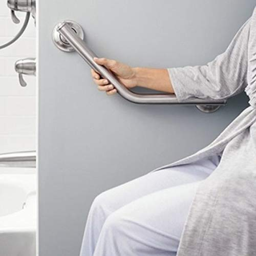 CERCHIO Shower Angled Grab Bar Bathroom Grab Bar Arm Safe-Grip Bar Stainless Steel Bathtub Toilet Handrail with Screw for Elderly, Handicapped 17 Inch