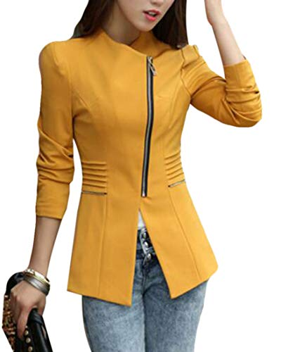 Domple Women's Slim Candy Color Round Neck Jacket Long Office Blazer Yellow US M by Domple (Image #2)