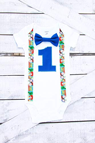 (Baby Boy first birthday Toy Story themed bodysuit Personalized Cake Smash Outfit Toy Story suspenders)