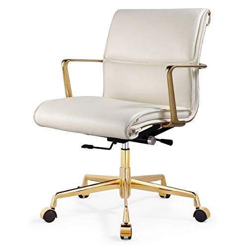 M347 Genuine Leather Padded Office Chair- Modern Design Executive Chair- Fine Italian Leather Seating Surface- Polished Aluminium or Polished Gold Frame- Optimal Comfort (White/Gold)