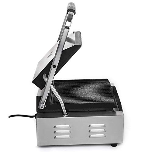 Happybuy Sandwich Press Grill 110V Panini Maker and Grill 1800W Commercial Panini Grill Durable Stainless Steel Construction with Adjustable Temperature Control Cooking Non Stick Surface Grooved Plates by Happybuy (Image #4)
