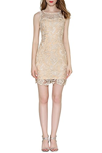 Little Smily Women's Crochet Lace Form Fitting Scoop Neck Cocktail Bodycon Dress, Champagne-2, M ()