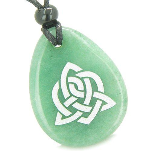Amulet Triple Energy Celtic Triquetra Knot Green Quartz Pendant - Triple Gemstone Lucky