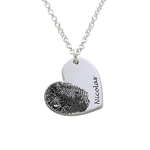 Shirly Custom Fingerprint Necklace Personalized Heart Pendant Gift for Mother's Day Engraved Golden Jewelry